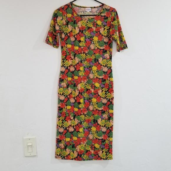 LuLaRoe long flowery dress beautiful & colorful